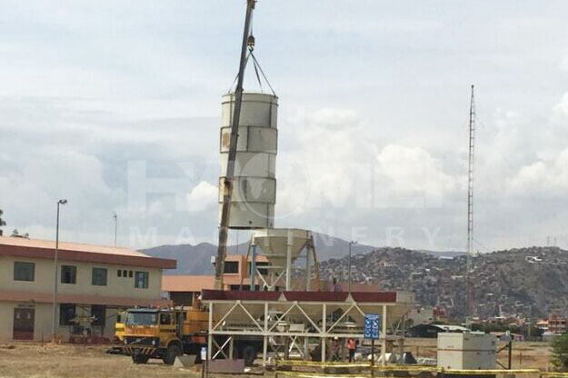 HZS35 concrete batching plant installation in Bolivia