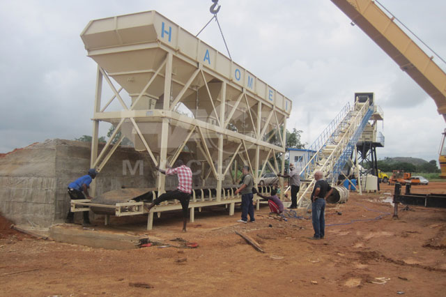 YHZS60 mobile concrete batching plant installation site in Nigeria