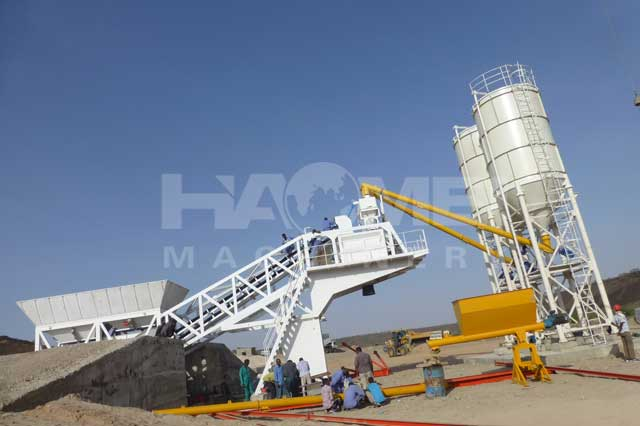 YHZS75 mobile concrete batch plant in Somaliland